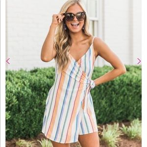 Think It Over Ivory Striped Romper